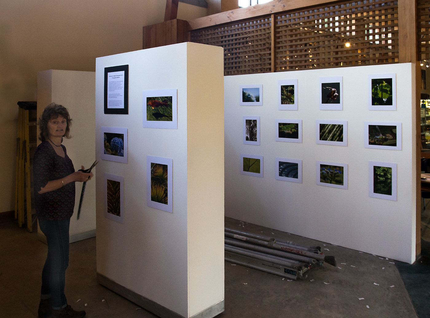 Liz making sure her photos are in the exhibition.
